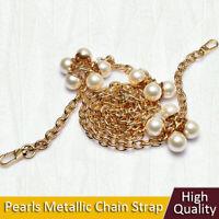 8 Pearls & Metallic Chain Strap Women Crossbody Handbag Shoulder Bag Strap Chain
