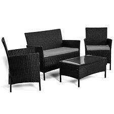 Salotto esterno set giardino divano da arredo con poltrone tavolino cuscini nero