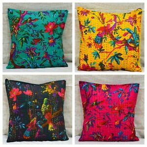 Ethnic Kantha Pillow Cushion Cover Indian Home Decorative Pillowcase Throw 16""