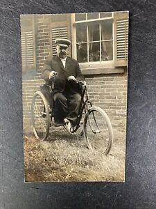 RPPC Real Photo Postcard - Man on Tricycle