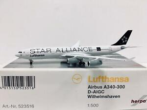 Herpa Wings Lufthansa Airbus A340-300 Wilhelmshaven 1:500 D-AIGC 523516