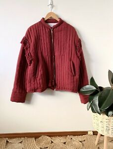 BOHEMIAN TRADERS wine tasseled quilted bomber jacket sz 4XL | ex cond