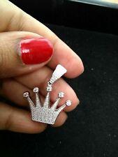 Women's 14K White Gold Over D/Vvs1 0.90 Ct Diamond Queen Crown Pendant Necklace