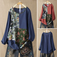 Vintage Women Long Sleeve Shirt Tops Round Neck Loose Blouse Ethnic Oversize Top