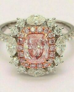 Pink Cushion Cut Art Deco Vintage Engagement Ring 14k White Gold Over Size J-T