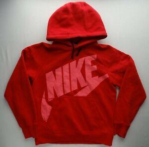 Nike Men S AW77 Pullover Fleece Hoodie Red w/ Pink Logo Classic 717289-687 Hoody