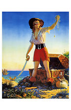 Pin Up Girl Poster 11x17 flapper pirate girl exotic maiden treasure art deco