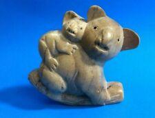 "4"" x 4"" Australian Mangrove Tree Wood Koala Bear & Joey Statue #20513"