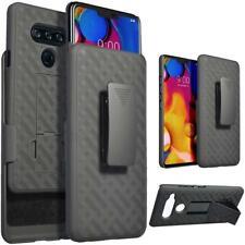 LG V40 ThinQ Shockproof Kickstand Holster Belt Clip Case+Glass Screen Protector