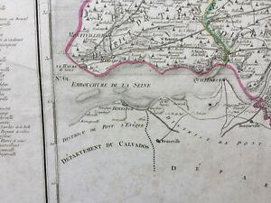 1790 original FRENCH MAP departement DE LA SEINE INFERIEURE embouchure ROUEN