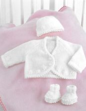 "Baby/premature baby cardigan, hat, bootees knitting pattern 10""-18"" 4 ply 149"