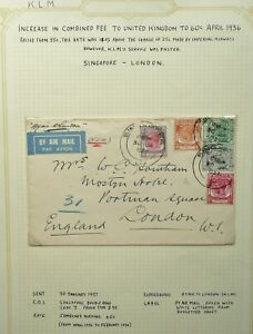 MALAYA 30 JAN 1937 KGV K.L.M AIRMAIL COVER FROM SINGAPORE TO LONDON, ENGLAND