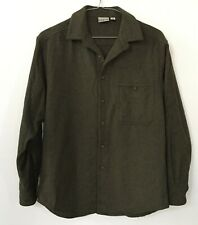 Ibex 100% New Wool Button Front Long Sleeve Top, Size Medium, Green