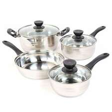 Stainless Steel Cookware Set Pots And Pans Glass Lid Bakelite Handle 7 Piece NEW