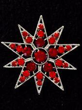 Rhinestone Ruby-Red Crystal Cake Brooch Pin Christmas Star Scarf Decoration #52
