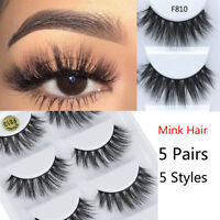5Pairs 3D Mink Hair False Eyelashes Thick Crisscross Eye Lashes Wispy Extension`