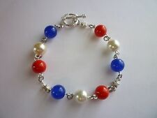 Silver Tone Bracelet 4th Of July Red/White/Blue 8 inches Toggle Clasp