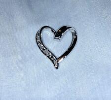 Sterling Silver 925 LA Heart Necklace Charm Diamond Flakes Romantic Los Angeles