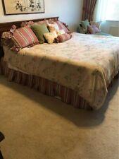 Vtg Rare Ralph Lauren Beige Floral King Bedding Tiebacks, Comforter, Skirt, Case