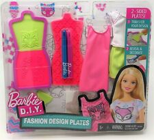More details for barbie fashion design plates pink and green make your own outfit for doll