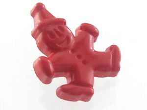 Vintage Red Clown Plastic Garment Button Size .5in Novelty Design 822C