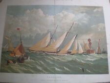 Yachting by Edwin Weedon 1860 old colour print