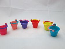 1/12th scale dollhouse miniature - 6 plastic pails Assorted Colors