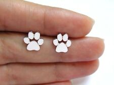Silver Gold Rose Plated Paw Print Cat Dog Small Pair of Studs in Gift Bag/Box