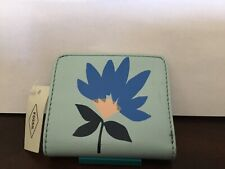 New Womens Fossil Brand Leather Madison Bifold Flower Blue Wallet NWT $38