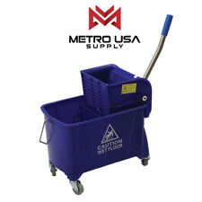 [METRO] 21Qt Commercial  Blue Mop Bucket Side Press Wringer on Wheels Cleaning