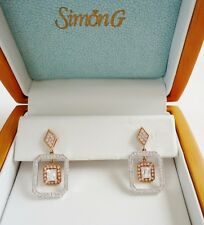"SIMON G. 18K GOLD & DIAMOND ""Passion Collection"" Earrings w/ Signed Gift Box"