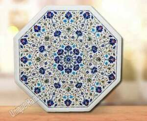 Italian Marble Dining Table Top Inlay Art Unique Lapis Florals Outdoor Furniture