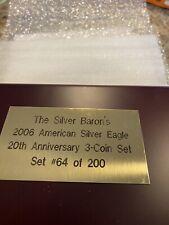 2006 Silver Eagle 20th Anniversary Set NGC Graded PF69, MS69, & PF69 Ultra Cameo
