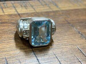 Judith Ripka Sterling Silver Ring Blue Topaz Size  9