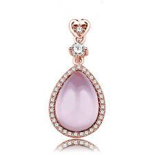 Oro rosa pl sólido de plata esterlina 925 rosa CZ Corazón Colgante de Cuarzo Rosa De Pera