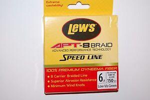 lews fishing line apt-8 braid 6lb 150yd spool lo-vis green dyneema fiber
