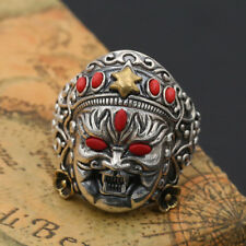 Men Solid 925 Sterling Thai Silver Ring : Wealth Bodhisatt : Open Size 10 to 13