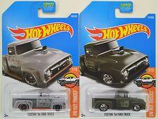 "2017 Hot Wheels: CUSTOM '56 FORD TRUCK - ""Gray & Black"" - 2 Car Pickup LOT Set"