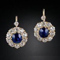 3Ct Round Cut Blue Sapphire Diamond Huggie Hoop Earrings 14K Yellow Gold Finish