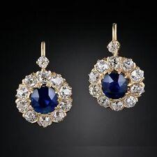 Hoop Earring 14K Yellow Gold Finish 3.0Ct Round Cut Blue Sapphire Diamond Huggie