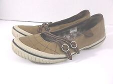Merrel women's shoes slip on 7.5 tan/brown buckle detail casual walking