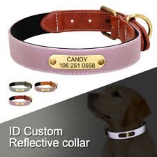 Reflective Dog Personalised Leather Collars Custom ID Name Tags Small Large Dogs