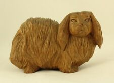 RARE Jose Pinal Carved Wooden Pekingese Dog Sculpture Mexican Folk Art Signed