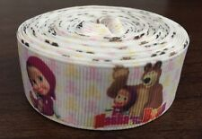 1m Masha And The Bear Character Cartoon Printed Grosgrain Ribbon, 22mm 7/8""