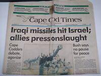 CAPE COD TIMES MA NEWSPAPER Jan. 18, 1991 IRAQI MISSILES HIT ISRAEL NO PAUSE