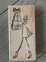 PENNY BLACK FASHION DELIVERY WOOD STAMP LADY WITH GIFTS 4213K
