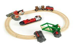 BRIO Cargo Harbour Set 33061 16 Piece Wooden Railway Set - Great Value