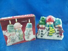 Christmas Holiday Snowman Puzzle Candles 3 Piece Set New Sealed Free Shipping!