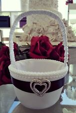Black and White wedding flower girl basket with silver diamante heart