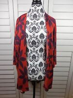 Lularoe Lindsay Kimono Cardigan Women Large Orange Blue Floral Comfy Ladies